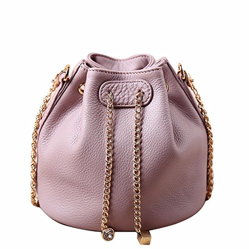 Madonna della Catena in pelle di vitello morbida borsa/moda benna mini bag sacca femmina vacchetta singolo pacchetto di spalla,Rosa Rosa