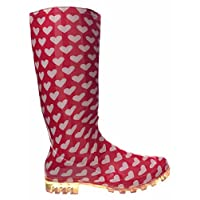 P366 PINK WITH WHITE HEARTS FUNKY WOMENS LADIES GIRLS WELLIES WELLIE BOOTS RAIN SNOW SIZES 3, 4, 5, 6, 6.5 & 7 (5)