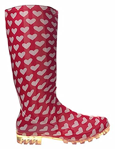 P366 PINK WITH WHITE HEARTS FUNKY WOMENS LADIES GIRLS WELLIES WELLIE BOOTS RAIN SNOW SIZES 3, 4, 5, 6, 6.5 & 7 (7)