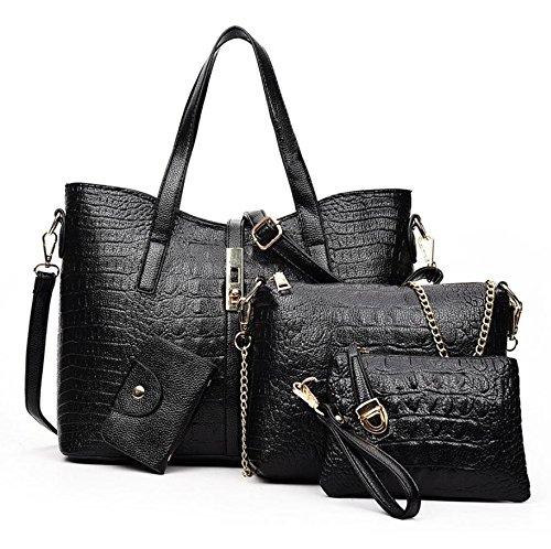 X&L Frauen- Messenger Bag Umhängetasche Handtasche Krokodil Mutter vier-Anzug Black