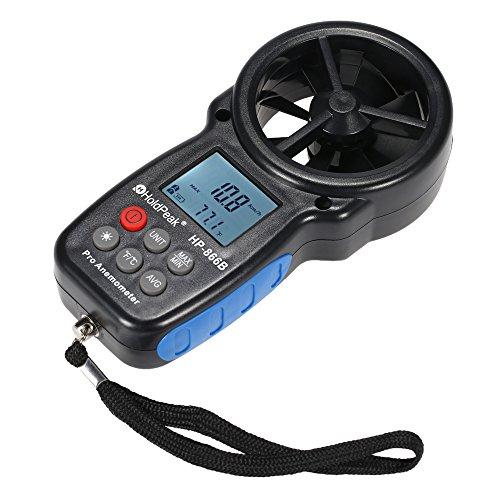 HKANG® Anemómetro Termómetro Digital De Pantalla LCD Medidor De Velocidad Viento Aire Con Luz De...