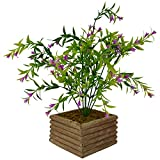 #7: Thefancymart Artificial Spring Flower Bush in Wood Square Pot (28 cm/ 11 inchs)-1515