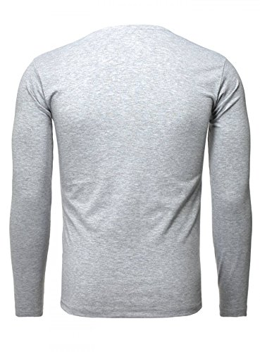 Akito Tanaka Herren Longsleeve Basic v-Neck Uni Langarm T-Shirt mit Tiefem V-Ausschnitt Einfarbig Slimfit Grau
