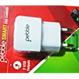 Pebble Eco-frindly Dual USB Smart Charger With 1A-2.1A Fast Charge -White