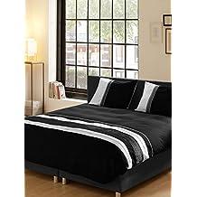 Descanso para cama de matrimonio algodón 100 por ciento/de funda de edredón y de raso rayas horizontales en, negro
