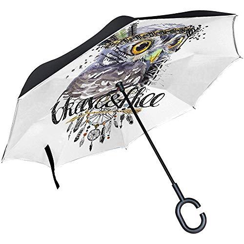 Alice Eva Búho Indio Nativo Atrapasueños Paraguas inverso a Prueba de Viento de Doble Capa Invertida