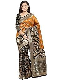 Inddus Black Woven Saree Kanjivaram Style Party Wear Wedding Wear Casual Daily Wear Festive Wear Bollywood New...