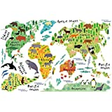 Tomtopp Colorful Animal World Map Sticker Kids Home Decor DIY Room Wall Art Poster