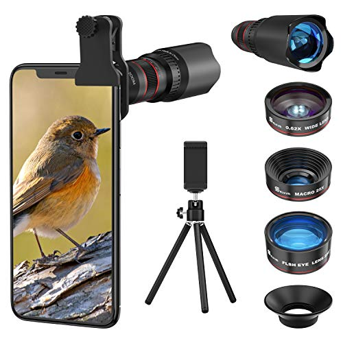 Handy Objektiv Kamera Linse Kit, Lens Set 22X Teleobjektiv + 25X Makro Objektiv + 0,62X Weitwinkel + 235° Fischaugenobjektiv für IOS iPhone und meisten Android Smartphone