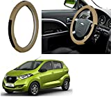 #1: Auto Pearl - Adinox Premium Quality Ring Type Car Steering Wheel Cover (Diamond Media Brown Beige) For -Datsun Redi Go