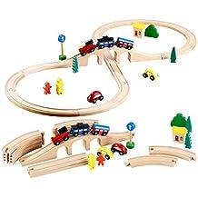 Playtastic Holzeisenbahn: Mittelgroßes Holz-Eisenbahn-Set mit 29 Teilen (Vollholz-Eisenbahn)
