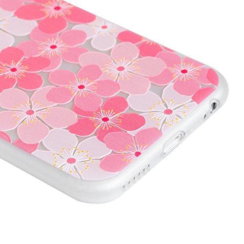 MAXFE.CO TPU Silikon Hülle für iPhone 6 6S Handyhülle Schale Etui Protective Case Cover Rück mit Großer weißer Hund Skin Silikon Stereo Lithographie Design Pfirsichblüte