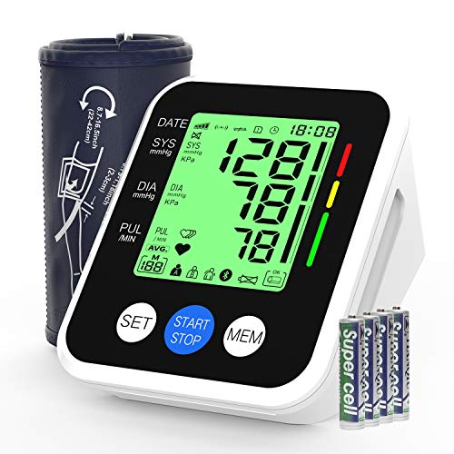 Tensiomètre Électronique Bras, AUCEE Moniteur Automatique de Pression Sanguine et de Fréquence Cardiaque pour le Haut du Bras, avec Brassard Ajustable et Écran LCD Rétro-éclairé, pour 2 Utilisateurs