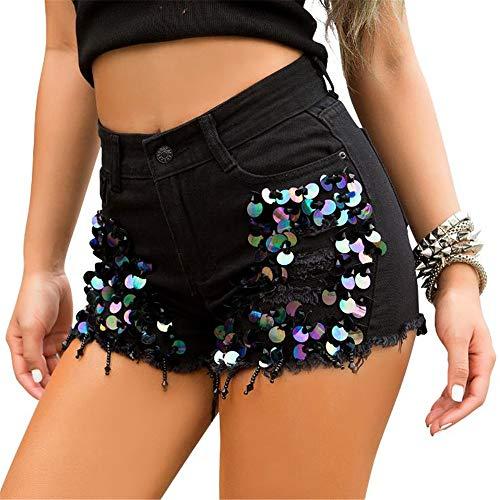 ZHOUJINGTIAN Shorts für Mädchen Sommer Cowboy Shorts Ultra Short Sexy Hohe Taille Loch Perlen Hot Pants Schwarz M