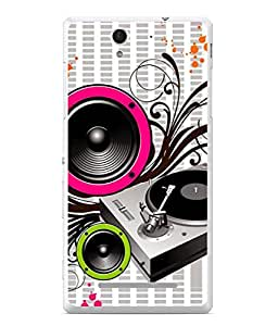 PrintVisa Designer Back Case Cover for Sony Xperia C3 Dual (musical instruments and speaker pattern)