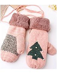 SwirlColor Fille d'hiver épaissir double-couche mitaines tricotée Full Fingers Gants