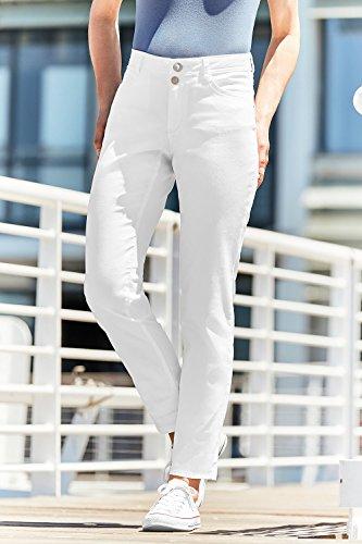GINA_LAURA Damen | Hose TINA | Strassnieten | Stretch-Komfort | Gürtelschlaufen | gerader Schnitt | bis Größe 24 | 711003 Weiß