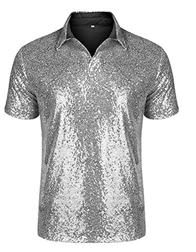 Herren Metallic Silber Hemd Nachtclub Styles Pailletten Kurzarm Polo Shirt Glänzend Slim Fit Disco Dance Tops Kostüm Party Clubwear Halloween/Cosplay Kostüm,Silver,XL
