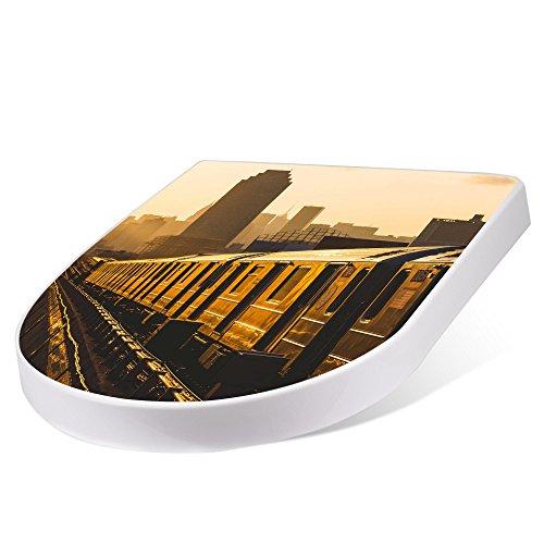 banjado Design Toilettensitz mit Absenkautomatik, WC-Sitz weiß, Klodeckel mit Edelstahl Scharnieren, Toilettendeckel mit Motiv U-Bahn New York