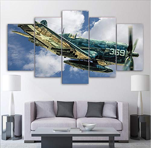 ttymei Wandkunst Bilder Room Home Decor Abstrakte Poster Rahmen 5 Stücke HD Gedruckt Jet Aircraft Vintage Flugzeug Leinwand Malerei,30x40 30x60 30x80cm -