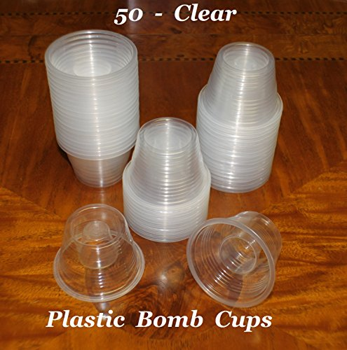 Kunststoff Power Bomber Shot Cups oder Jager Blaster Bomb Gläser 50 Pack Clear - Soft Plastic Shot Glass Jigger