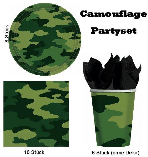 Camouflage 32 tlg. Party-Set Servietten Becher Teller Geburtstag