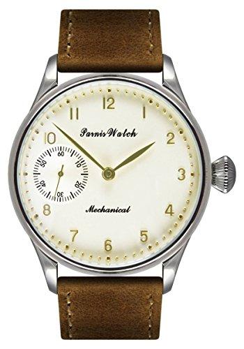PARNIS Handaufzugsuhr 2091 Herren Armbanduhr beigefarbenes Zifferblatt mit goldfarbenen Indices