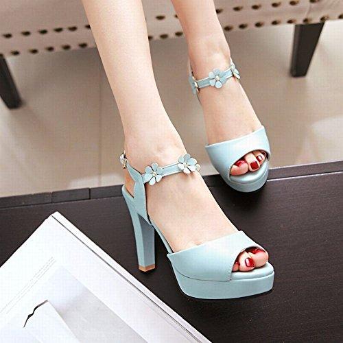 Mee Shoes Damen süß Peep toe high heels Plateau Sandalen Blau