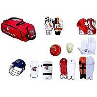 CW Century - Juego Completo de críquet para bateo y Equipo de Mantenimiento + Bolsa con Ruedas para Hombres