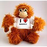 Orangután de peluche (juguete) con Amo Camomile en la camiseta (nombre de pila/apellido/apodo)