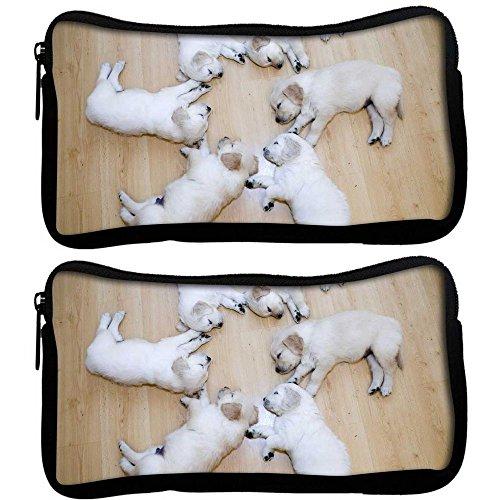 Snoogg 2Stück Süßer Hund Welpen Designer Poly Leinwand Student Pen Bleistift Fall Münzfach Tasche Kosmetik Make-up Tasche (Handtasche Hund, Welpe, Handtasche Zubehör)