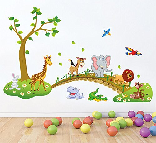HALLOBO® XXL Wandsticker Wandtattoo Kinderzimmer Wald Tierbrücke Tier Brücke Baum Elefant Giraffe Eulen Ameise Wandaufkleber Wall Sticker Kinder Kind Junge Mädchen Baby Babyzimmer