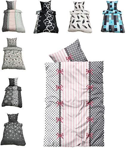 Leonado-Vicenti Thermofleece Bettwäsche 2 TLG / 4 TLG / 3 TLG Flausch Winter Garnitur Bettbezüge, Maße:2 teilig 135x200 cm, Farbe:Rüsch rosa grau