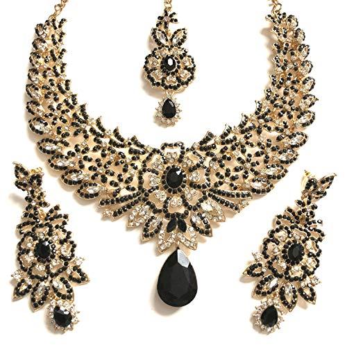955904224cc9 chamak Black Gold Bollywood Schmuck-Set mit Halskette und Ohrringen und  Einer Kopfkette 411