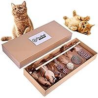 Katzen-Spielwaren wechselwirkende Spielwaren, natürliches Spaß-Katzen-Spielzeug mit Stab und Leinen Feder-Spielzeug-Satz 7pcs, Katzen-Spielwaren-Sammlung in der schönen Geschenkbox.
