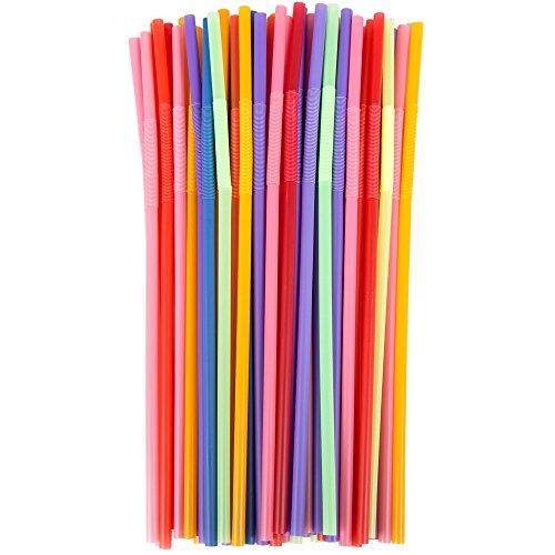 Multicolore en plastique souple pailles jetables–Idéal pour les enfants.