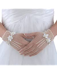 Topwedding gants de mariage orne des fleurs et perles, Beige