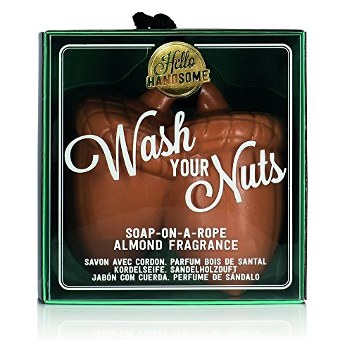NPW Men's Novelty Soap Bar - Hello Handsome Wash Your Nuts Soap On A Rope For Men