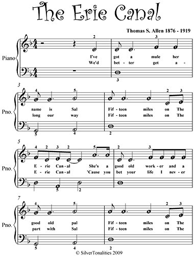 Erie Canal Easy Piano Sheet Music (English Edition)