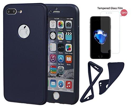 """xhorizon TM Stoßfeste weiche Schutzhülle aus 360 Grad ultradünner und zweischichtiger TPU für volle Deckung für iPhone 7 Plus (5.5"""") mit einem 9H Ausgeglichen Glas Film tiefblau + 9H Tempered Glass Film"""