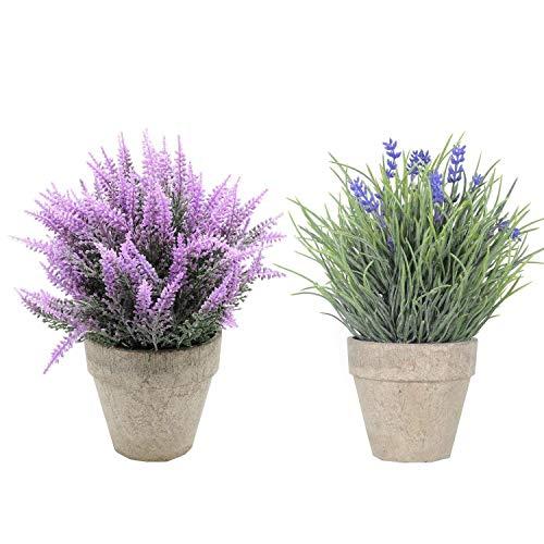 shacos set di 2 lavender pianta artificiale in vaso fiore finti piante finte vasi piante fiori artificiali per home office,2 pezzi lavender