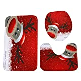 Frashing Merry Christmas Weihnachten Toilettenmatte 3 Sätze,Startseite Weihnachten Wc Fußpolster Sitzbezug Heizkörper Kappe Bad Sets (C)