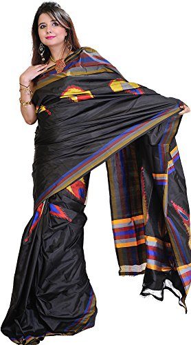 Exotic India Licorice-Black Double Ikat Sari from Pochampally with Hand-Woven Peacock Feathers - Black Ikat Sari