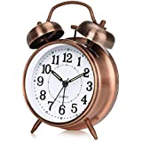 otumixx analogue alarm clock, double bell alarm clock, analogue with night light, loud alarm, no ticking, silent, quartz alarm clock, battery-operated, large dial of 4 inches.