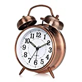 otumixx Réveil Matin à Double Cloche, Réveil Rétro Silencieux Horloge de Chevet avec Lumière de Nuit pour Sommeil Bureau Chambre Voyage, 4 Pouces - Bronze