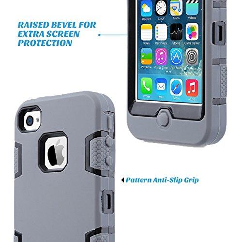 iPhone 4 Custodia - SUPAD® iPhone 4S Custodia Slim Fit sottile doppio Defender Case strato armatura Hybrid Coprire Silicone Cover per Apple iPhone 4/4S (Nero) Nero Grigio