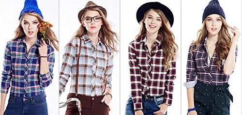 ACVIP Femmes/Fille Étudiante Chemise à Carreaux Simple Manche Longue Revers Blouse Outwear Casuel en Coton,13 Couleurs Brun