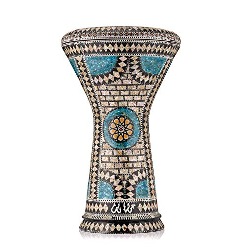 "The Sapphire Orchid Darbuka by Gawharet El Fan | Standard size Goblet Drum/Darbuka/Doumbek/Egyptian Tabla | Fits 22cm / 8.75"" size Standard Darbuka 