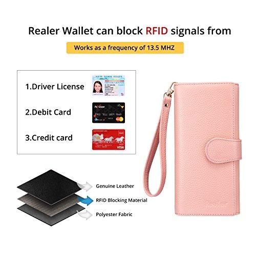 Geldbörse Damen Leder Rfid Geldbörse Brieftasche - 4