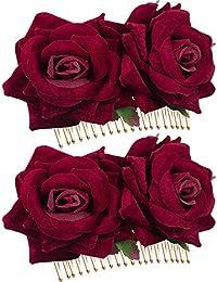 2 Piezas de Clip de Pelo de Flor Rosa Accesorios de Pelo de Flor de Rosa de Mujeres para Boda Bailaora de Flamenco (Rojo Oscuro)
